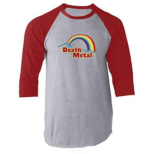 Death Metal Retro Rainbow 70s 80s Sarcastic Red M Raglan Baseball Tee Shirt ()