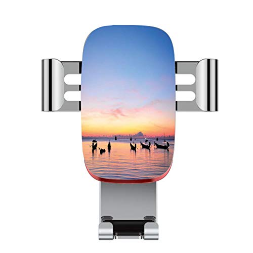 (Metal automatic car phone holder,Fishing Decor,Sunset on Sea with Silhouette Ships at Suratthani Asian Bay Relaxa,adjustable 360 degree rotation, car phone holder compatible with 4-6.2 inch smartphone)