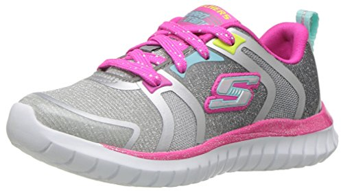 Skechers Kids Girls' Speed Trainer Sneaker,Gray/Multi,13 M US Little Kid (Girls Childrens Trainers)