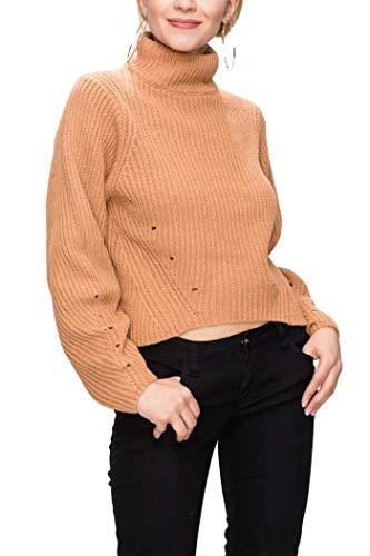 JUAE Women Turtle Neck Balloon Sleeve Sweater Top-Apricot, Large