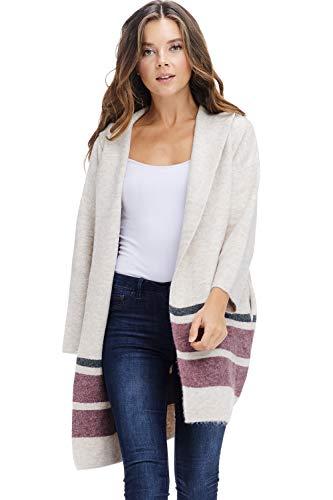 - Alexander + David Sweaters for Women Hoodie Jacket Coat - Open Front Brushed Sweater (Beige, Medium/Large)