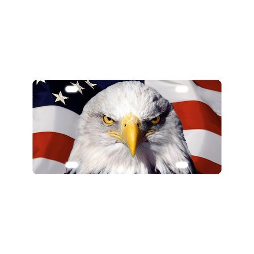 Classic American Bald Eagle Flag Metal License Plate Frame (New) 12