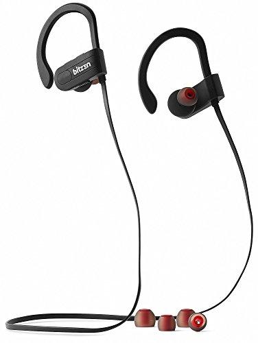 Bitzen Wireless Sweat-Proof Neckband Headphones – Lightweight IXP4 Waterproof Noise-Cancelling Bluetooth Earbuds – Stereo In-Ear Sport Earphones Headset with Mic & Hands-Free Volume Control