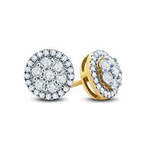 Revere Women's 18k Solid Yellow Gold Stud Earrings, Yellow