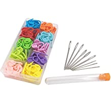 Maosifang 120 Locking Stitch Markers Knitting Counter and 9 Large-Eye Blunt Quilting Yarn Sewing Tapestry Darning Crafting Weaving Stringing Needles,Mother's Day Gifts(3 sizes)