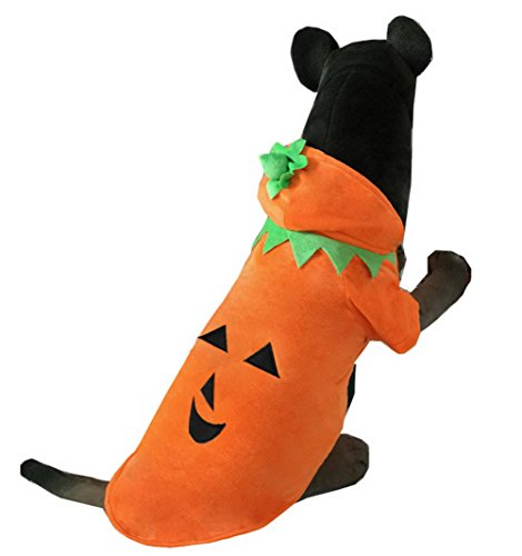 Zunea Medium Dog Clothes for Winter Pumpkin Dog Costume Hooded Dog Coat Orange 3XL ()