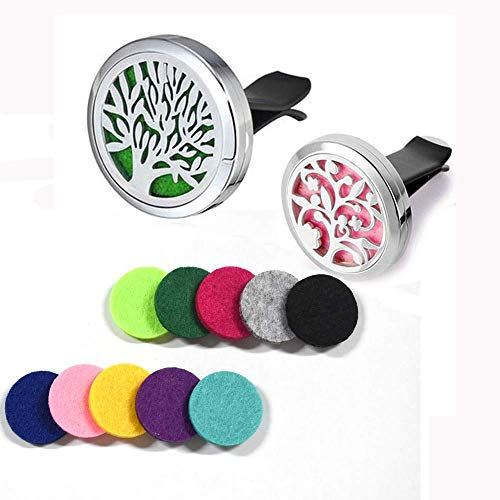 2PCS Car Aromatherapy Essential Oil Diffuser Stainless Steel Locket Air Freshener with Vent Clip 12 Felt Pads