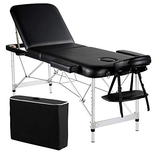 Yaheetech Portable Massage Table 84inch Massage Bed Aluminium Height Adjustable Facial Salon Tattoo Bed with Carring Case, 3 Fold, Extra Wide, Black