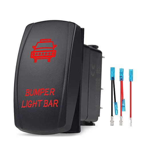 WATERWICH Bumper Light Bar Illuminated Rocker Toggle Switch Waterproof with Jumper Wires Set ON-Off DC 20A 12V/10A 24V 5pin/SPST Toggle Rocker Switch for Auto Truck Boat Marine RV (Red) ()