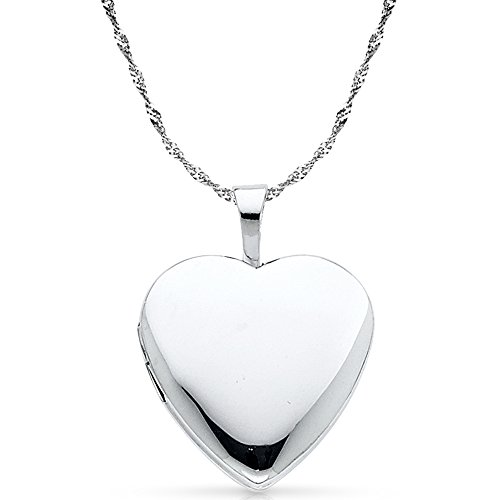 14k White Gold Singapore Pendant (CUSTOM ENGRAVED - 14K White Gold Plain Heart Locket Charm Pendant with 1.2mm Singapore Chain Necklace - 24