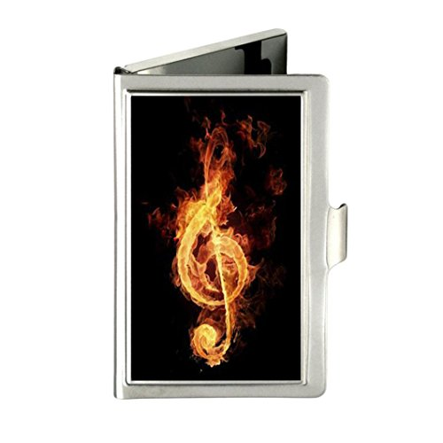 Music Note Personalized Custom Business Card Holder - Metal Stainless Steel Pocket ID Card Case Box Holder