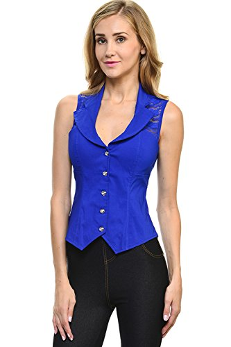 Lydia USA Sexy Rhinestone Button Spandex Sleeveless Collar Rave Club Vest Top With Back Lace (Medium, R-Blue)