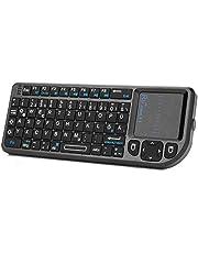 Rii X1 Mini tangentbord, trådlöst, smart TV-tangentbord, trådlöst tangentbord med pekplatta, mini tangentbord för smart TV fjärrkontroll/PC/PAD/Xbox 360/PS3/Google Android TV Box/HTPC/IPTV (De Layout)