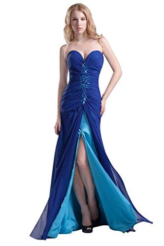 BRIDE GEORGE Split Chiffon Traegerlosen Perlen Blau Vorderabendkleid 0wdgqp
