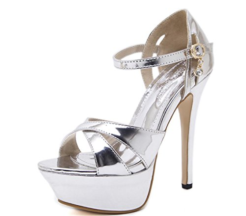 Heel XDGG mode Stiletto Nouvelle Casual Pointed Toe hauts à Single talons Shoes Sandales Women silver qTwZ1CwS
