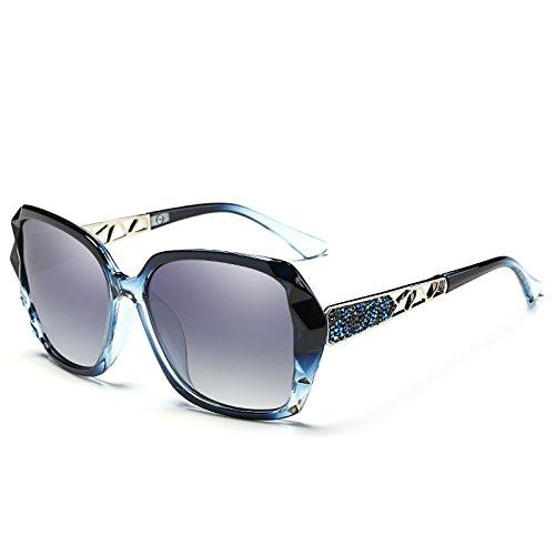 Sol Polarizantes Gafas zhenghao Frame Azul Gafas De Big Mujer Xue para Azul C8HUqztw1w