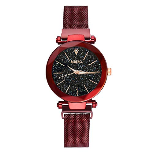 Alalaso MEIBO Quartz Stainless Steel Band Magnet Buckle Starry Sky Analog Wrist Watch (Red)