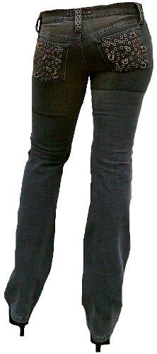 Design Rock Foro Stone Rivetti Donna Outrage Star Stretch Grigio Pantaloni Fornarina Cut Wash Jeans Boot nqXwA7q6x