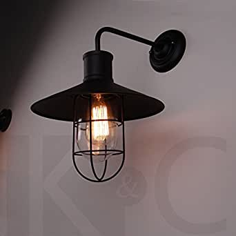QIMLIGHT Modern Plug in Wall Lamp Iron Glass Industrial