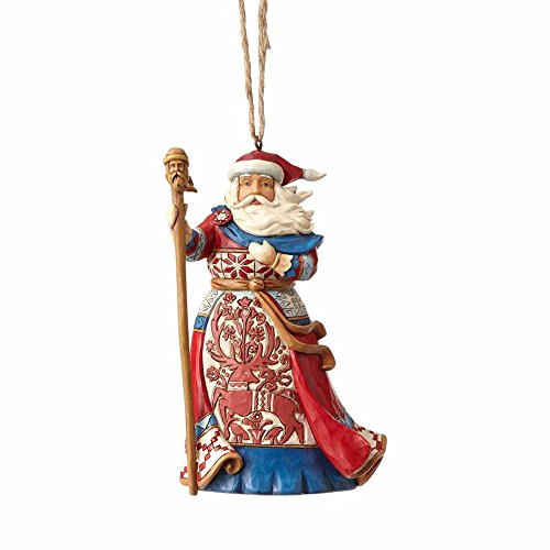 "Enesco Jim Shore Heartwood Creek Lapland Red and Blue Santa Stone Resin, 4.75"" Hanging Ornament Multicolor"