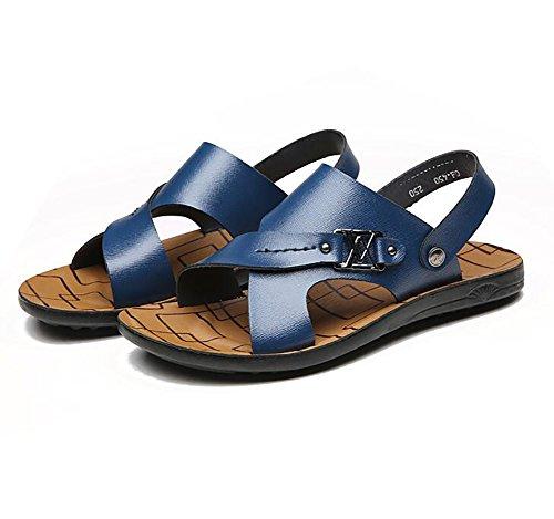 Moda Paseo 39 Cuero Sandalias Blue Blue Playa Zapatos Chancletas Zapatillas Verano Hombres vIBTw0