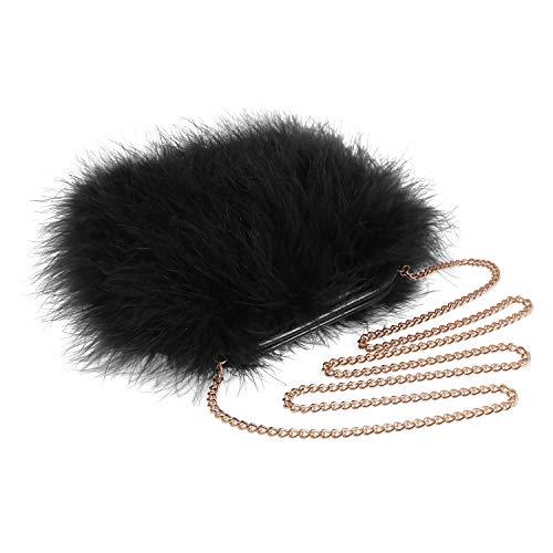 Women Marabou Feather Clutch Bag Evening Handbag with Detachable Chain Strap Wedding Cocktail Party Bag (Black)