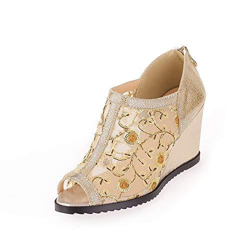 MENGLTX High Heels Sandalen Sandalen Sandalen 2019 Frauen Pumpt Air Mesh  Echtes Leder Schuhe Frau Peep Toe Elegante Keile Schuhe Frau Kleid Schuhe B07QLSQ13Q Sport- & Outdoorschuhe Authentische Garantie 037b40