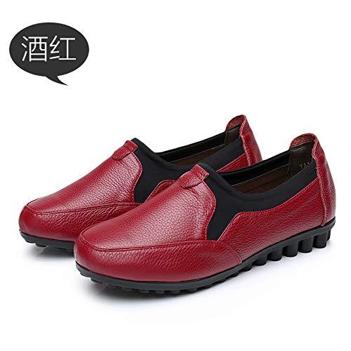 FLYRCX Printemps et Automne Chaussures antidérapantes en Cuir Fond Souple de Bouche Profonde Chaussures Plates Chaussures de Souple Travail Chaussures de Travail 38 EU|Red wine 0f11bb