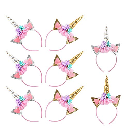 Unicorn Headbands Horn Floral Hairband for Kids Party Halloween Christmas Gold/Silver -