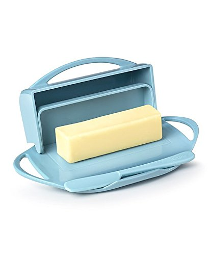 Butterie Flip Top Butter Dish For Countertop or Refrigerator, BPA Free, Blue