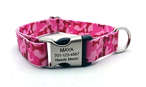 Camo Bones Polyester Webbing Dog Collar with Laser Engraved Personalized Buckle - PINK