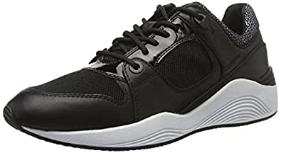GEOX Womens Trainers D Omaya A Leather Casual Shoes - Black-6