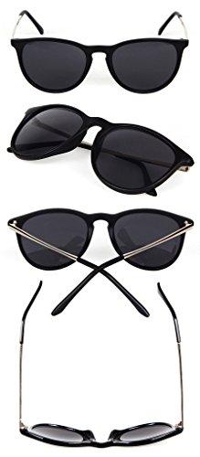 FUNOC Womens Mens Retro Vintage Cat Eye Round Glasses Metal Frame Leg Sunglasses