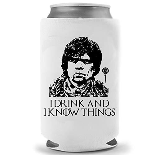 Tyrion Lannister - Beer Holder - I Drink and Know Things | Funny Novelty Can Cooler Hugger Coolie Huggie - Game of Thrones Theme | Beer Beverage Holder - Craft Beer Gifts - Neoprene Can Cooler (1)