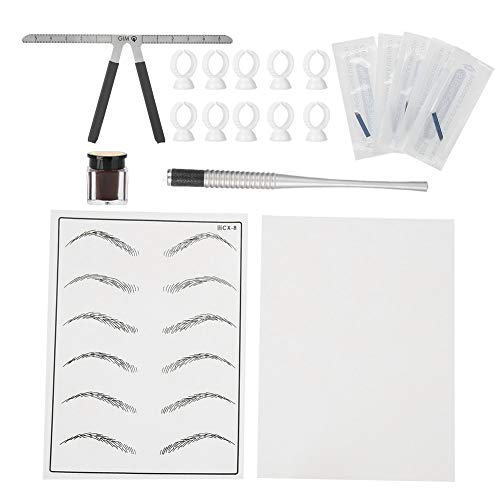 Eyebrow Microblading Tattoo Kit - Semi-Permanent Makeup Tool - Manual Pen for Tattoo Artists, Pins, Ruler, Colored Pigments for Deep Coffee, Kit Complete with Pigment Cup and Practice Skin