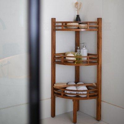 Freestanding Corner Shelf for Bathroom Made w/ Teak Wood ...