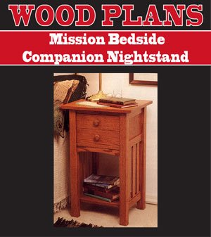 BEDSIDE COMPANION NIGHTSTAND WOODWORKING PAPER PLAN PW10037 - Bedside Table Plans