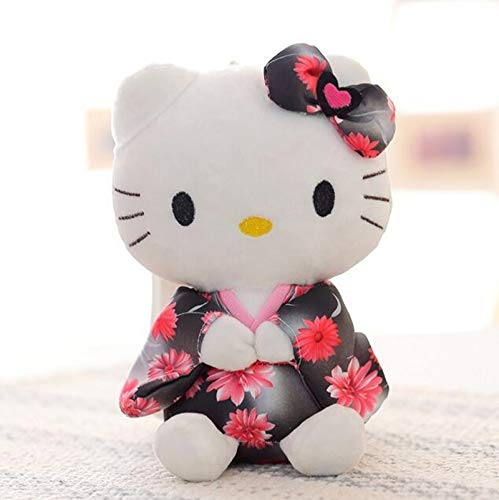 JEWH Creative Stuffed Animal Toy Hello Kitty Kimono KT Kawaii Doll Anime Toy for Girl Birthday's Gift Kid Toy [1 pcs 20cm] ( Black and red) -