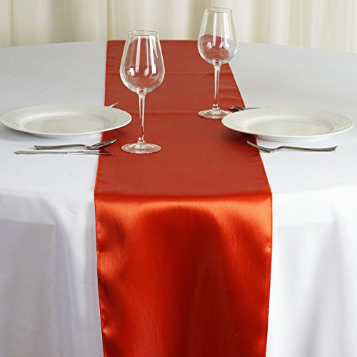 - BalsaCircle 10 pcs 12 x 108-Inch Burnt Orange Satin Table Top Runners - Wedding Party Event Reception Occasions Linens Decorations