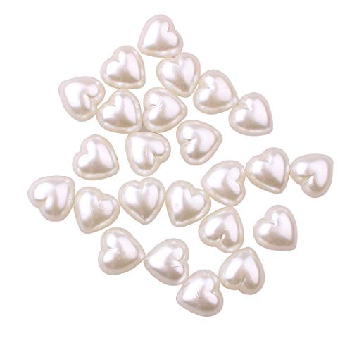 ZIJING Acrylic Faux Pearl Heart Flat Back Gemstone Resin Rhinestones Beads Embellishments for Arts Crats Scrapbooking for Embroidery, Applique, Knitting, Arts, Crafts, (Ivory Heart Flat-50pcs)