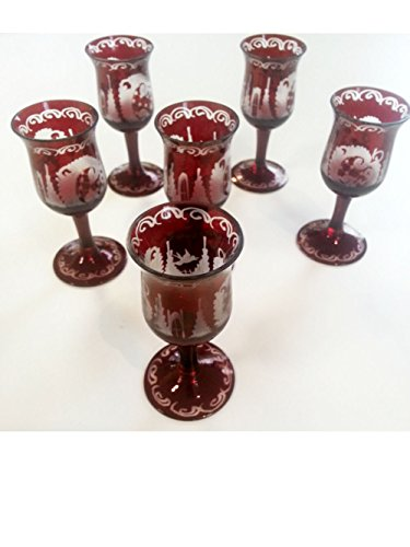 Cordial Glass Antik Bohemian Hand Cut Cordial Glass Rare Ruby Red Mouth Blown Original Egermann Crystal Glass the Sale Price Is for 1 Cordial Glass Height Approx 9 Cm Oberstdorfer Glashütte