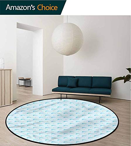 RUGSMAT Dolphin Super Soft Circle Rugs for Girls,Underwater Mammals Stripes Super Soft Living Room Bedroom Home Shaggy Carpet Round-24