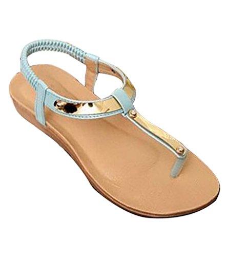 YOUJIA Verano Boho Lentejuelas Sandalias Plano Chanclas T-Strap Zapatos de  Playa para Mujer Azul a86853fa9fb7