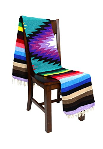 Open Road Goods Mexican Yoga Blanket, Navajo Aztec Diamond XL Thick Serape with Stripes-Turquoise ()