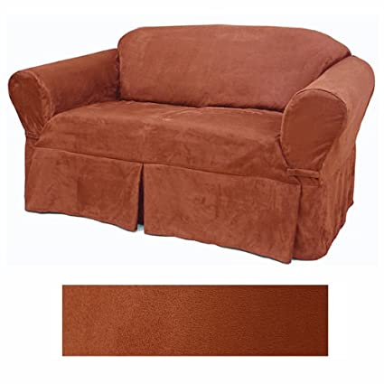 Ordinaire Suede Rust Furniture Slipcover Loveseat 616