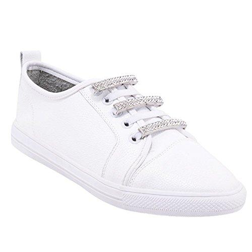 Mee Shoes Damen bequem Strass Flach Sneaker Weiß