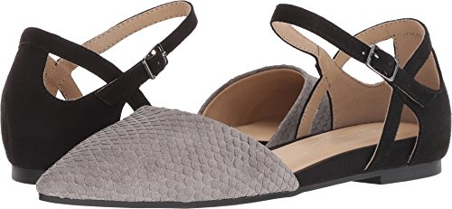 CL by Chinese Laundry CL by Laundry Women's Helena Grey/Black Snake Suede 6.5 M US (Print Flats Suede)