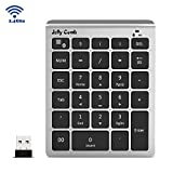 Wireless Number Pad, Jelly Comb Ultra Slim N020 2.4G Wireless Numeric Keypad Full Size 28-Key Multiple Shortcuts with Nano Receiver for Laptop, PC, Surface pro, Notebook, Macbook-Black and Silver