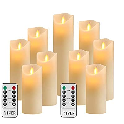 """YIWER Flameless Candles, ? 2.2""""x H 5.5''/6""""/6.5""""/7''/8''/9''Set of 9 Real Wax Not Plastic Pillars, 10-Key Remote Control with 2/4/6/8-hours Timer Function, 300+ Hours (9, Ivory)"""