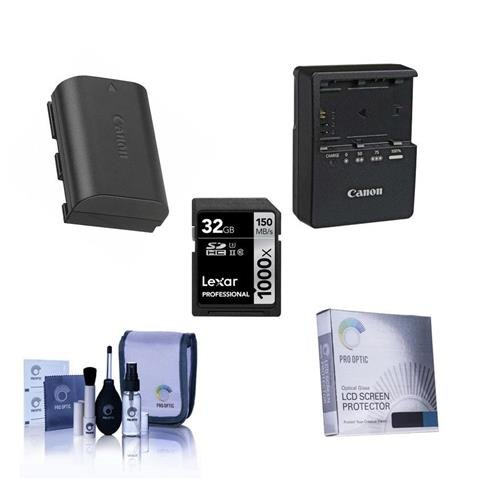 Canon EOS-80D Accessory Bundle - Consists of Canon LP-E6 N Li-Ion Battery, LC-E6 Compact Battery Charger, Screen Protector, Lexar 32GB Pro UHS-I SDHC U3 Card, Cleaning Kit